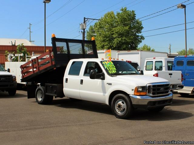 1999 FORD F350 One Ton Crewcab 9 Ft Flatbed Dump Truck for Sale in