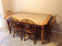 Ashley solid wood and tile kitchen table w/ 4 chairs - for ...