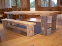 Pine farm table log bench rustic - for Sale in Eagle River ...