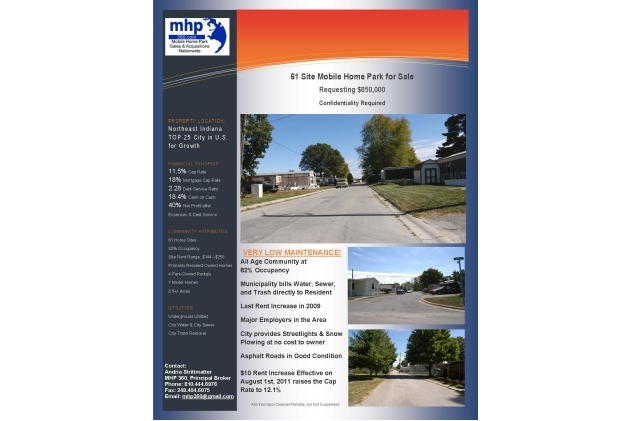 MOBILE HOME PARK #9 Rentals - North Manchester, IN Apartments - home for sale brochure