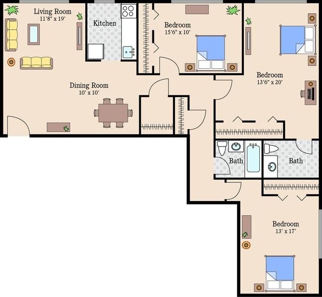 Queens Park Plaza Apartments Rentals   Hyattsville, MD   3 Bedroom  Apartments Queens