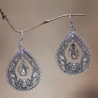 Sterling silver filigree earrings - Water | NOVICA