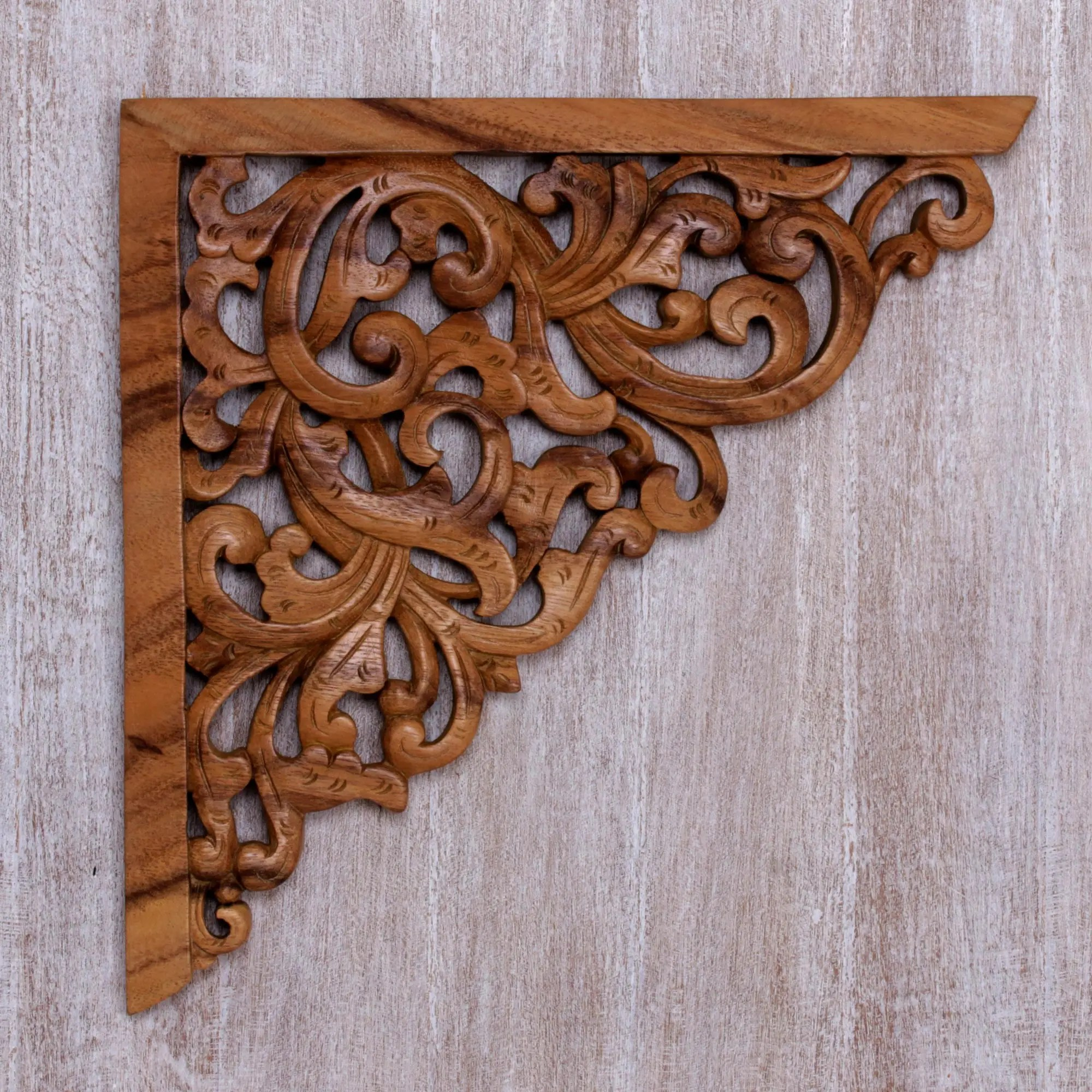 Motif Relief Hand Crafted Suar Wood Vine Motif Relief Panel From Bali Forest Corner