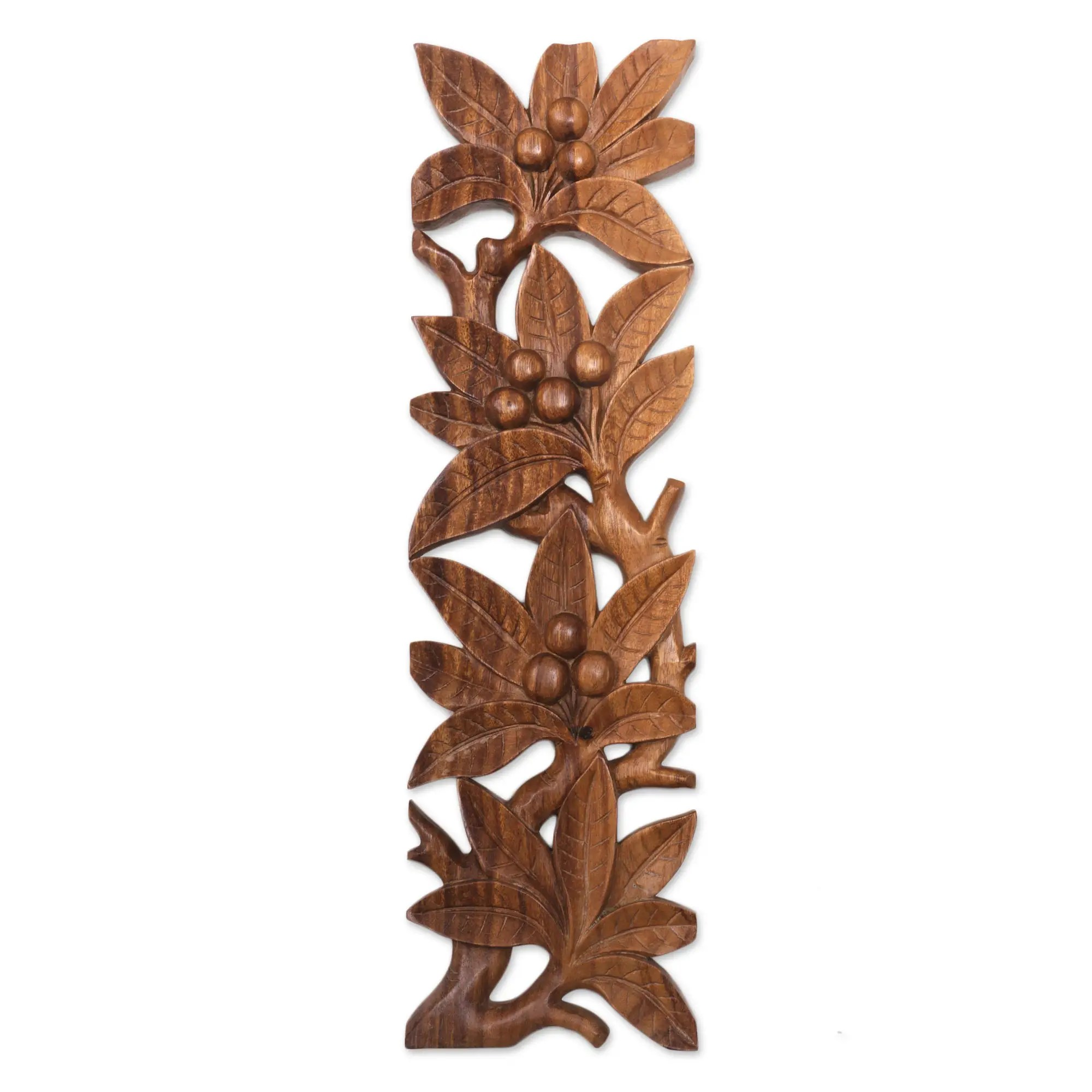 Motif Relief Handcrafted Suar Wood Leaf Motif Relief Panel From Bali Fruit Vines