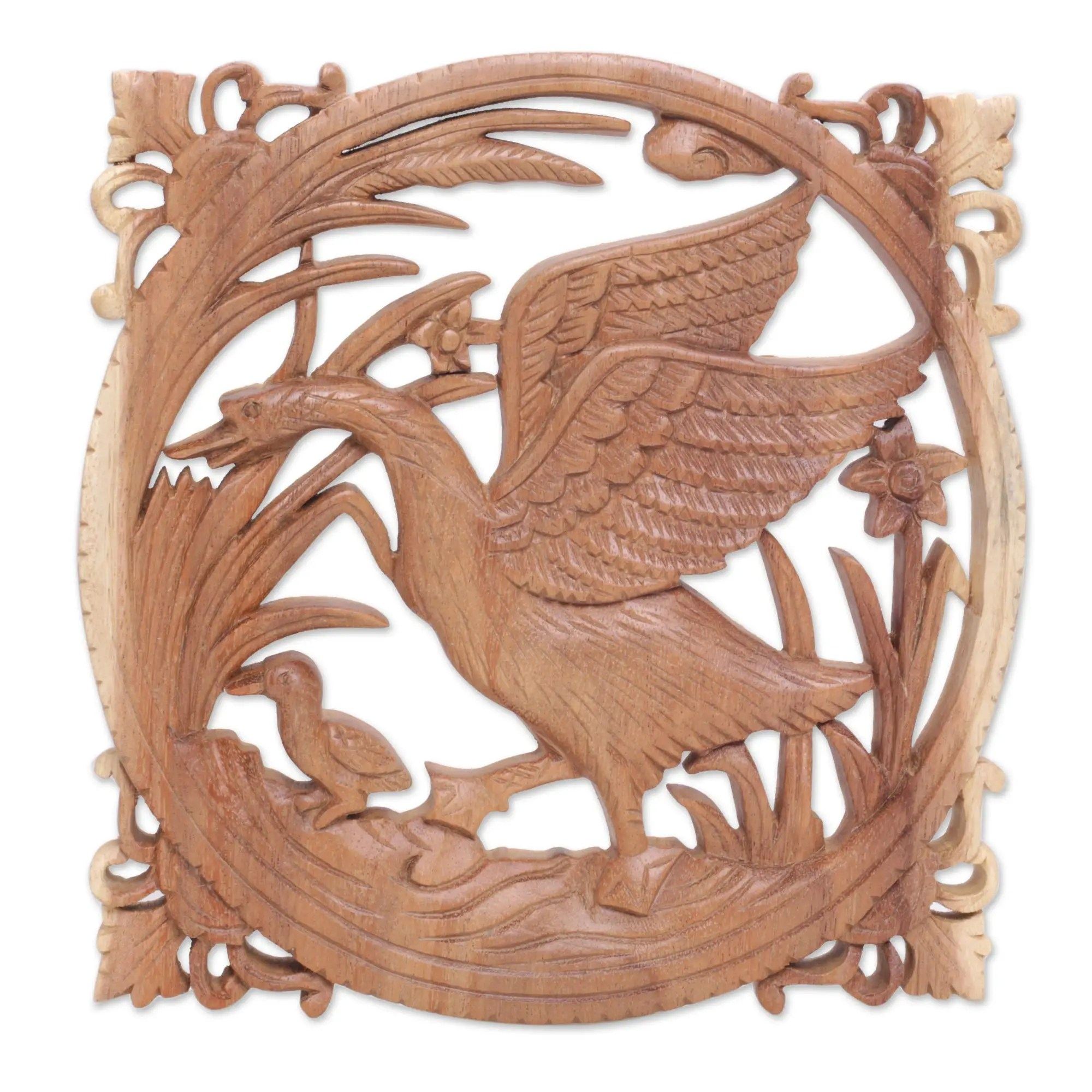 Motif Relief Handmade Wood Wall Relief Panel With Goose Motif From Bali Mother Goose