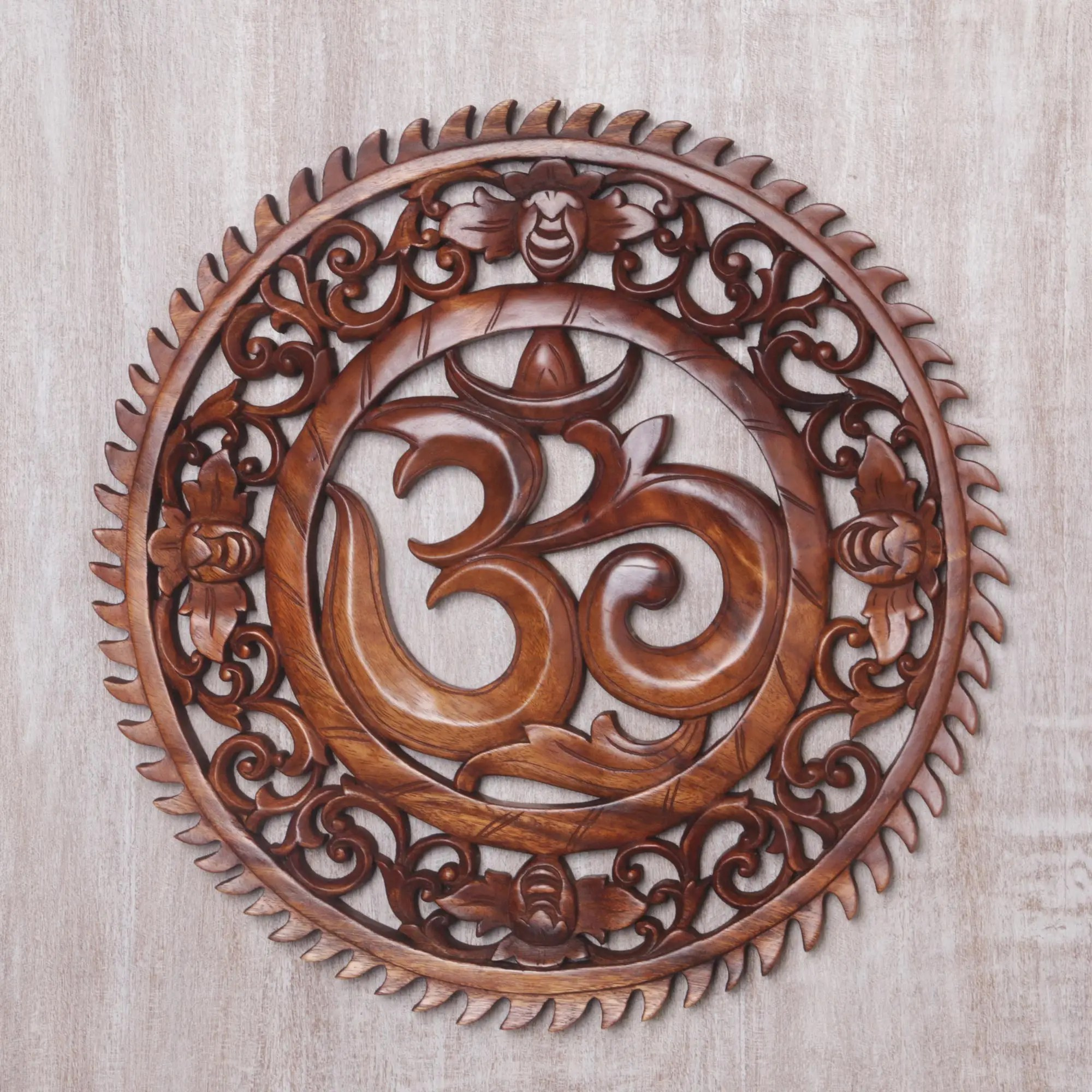 Motif Relief Hand Carved Om Motif Wood Wall Relief Panel From Bali Om Serenity