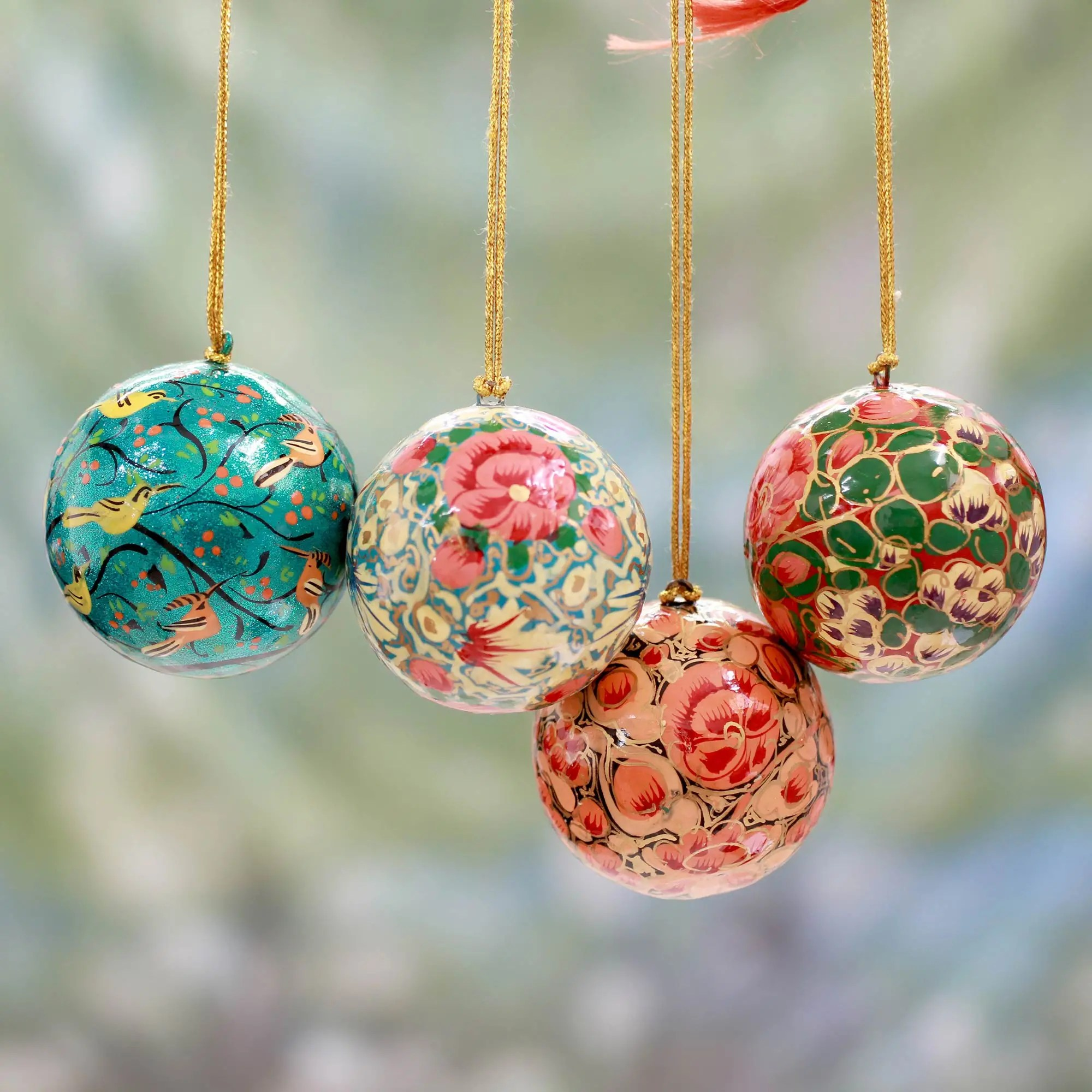 Pantone Christmas Ornaments India Handmade Papier Mache Christmas Ornaments Set Of 4 Christmas Joy