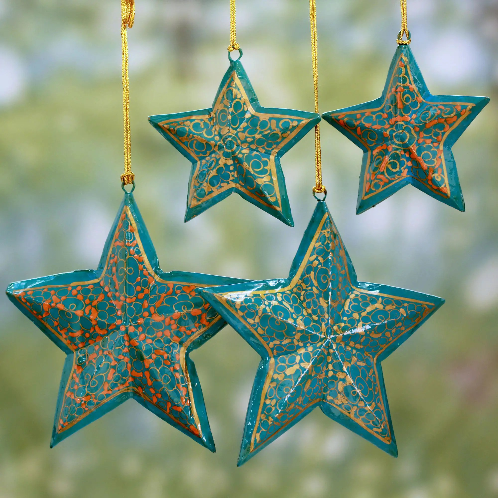 Pantone Christmas Ornaments Handmade Wooden Star Christmas Ornaments Set Of 4 Starry Sky