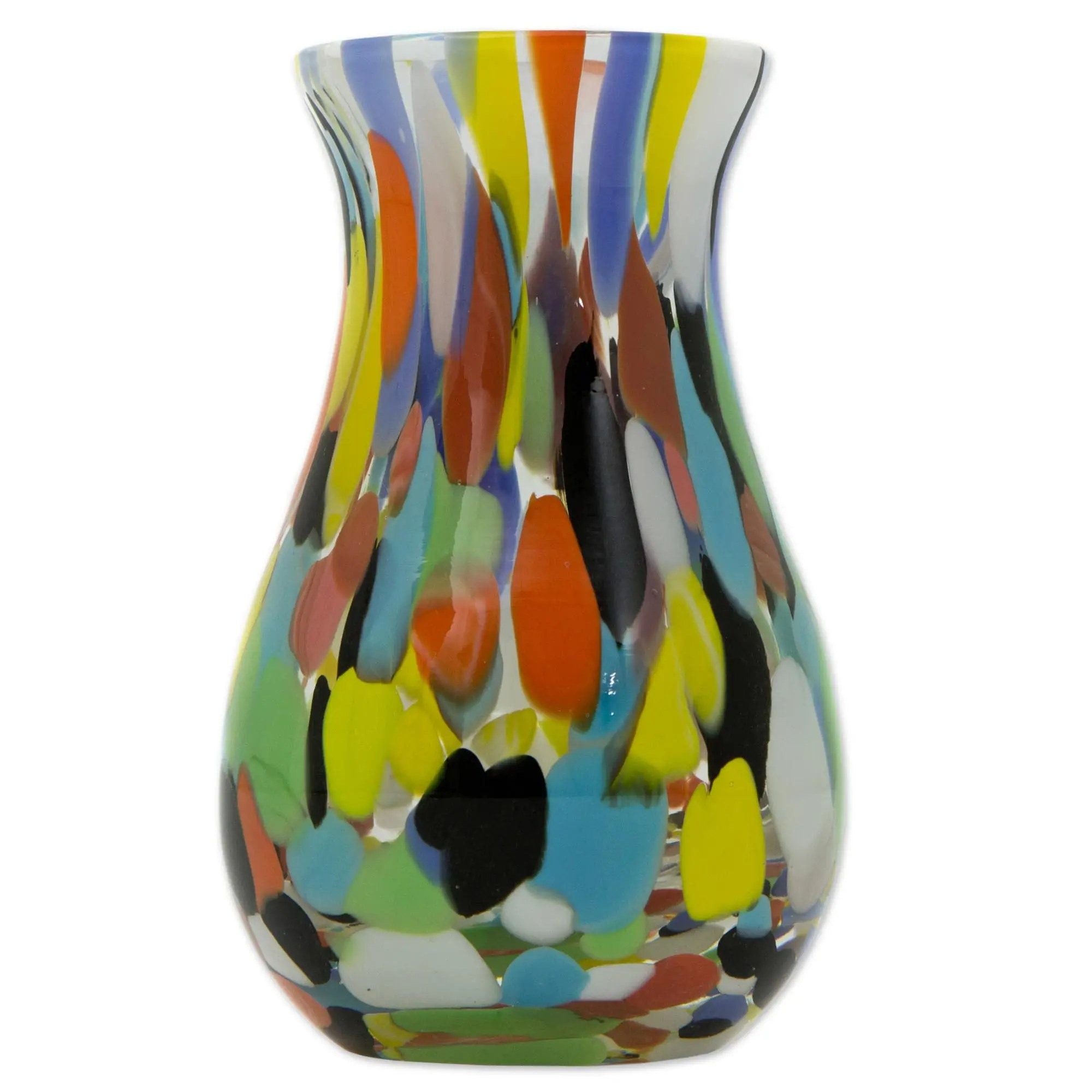 Vase De Murano Hand Blown Multi Colored Murano Inspired Art Glass Vase Impressionist Spring