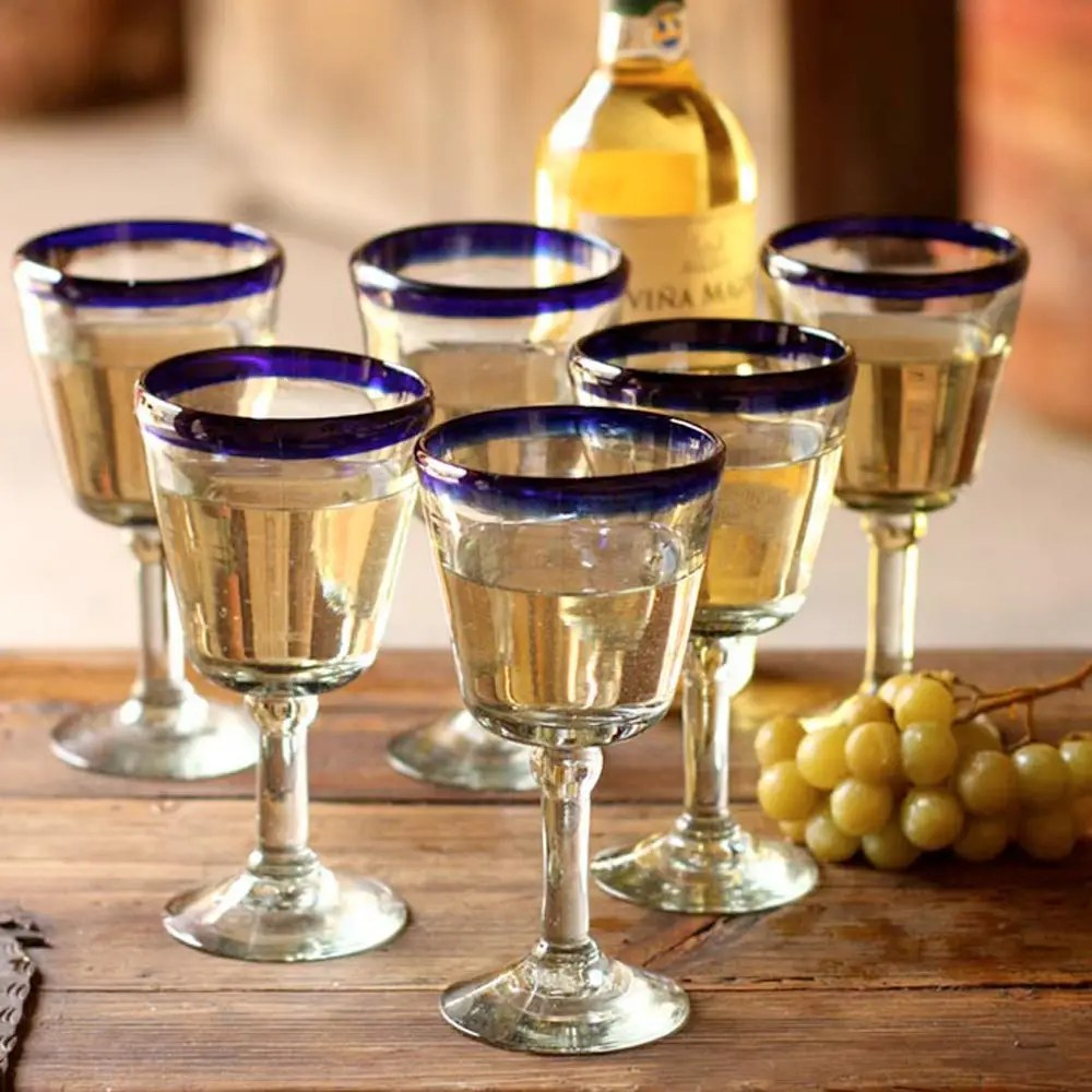 Chardonnay Wine Glass Hand Blown Wine Glasses Set Of 6 Blue Rim Goblets Mexico Chardonnay
