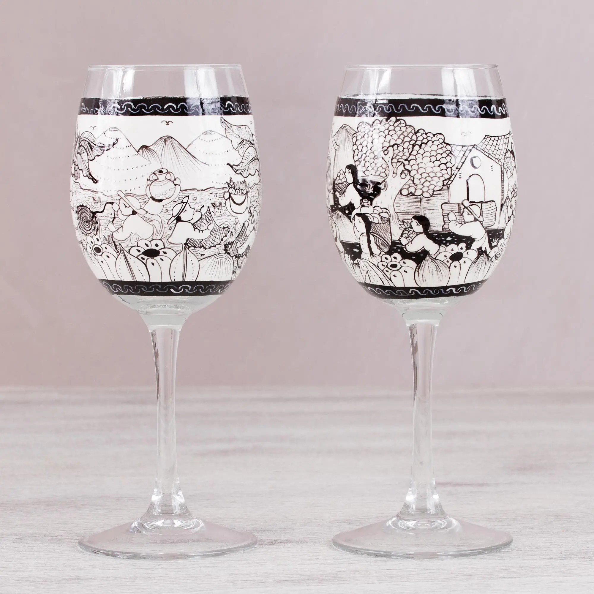 Wine Glasses Two Hand Painted Village Themed Wine Glasses From Mexico Cup Of History