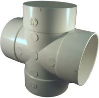 4 Inch PVC Sewer & Drain Tee Cross Fitting   PlumbersStock