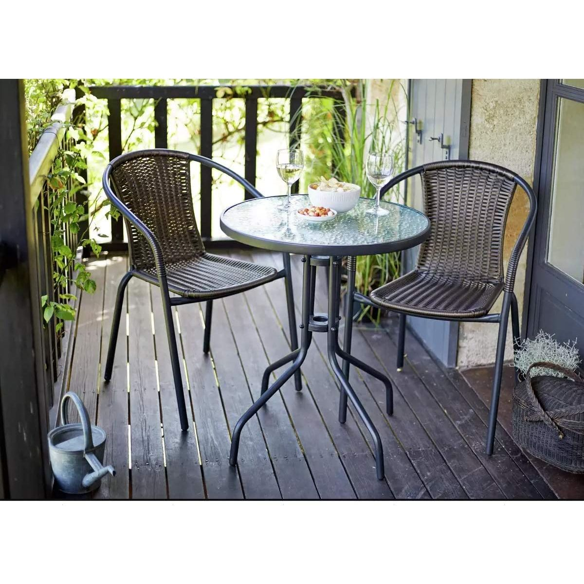 3 Piece Rattan Garden Patio Furniture Conservatory Glass Table 2 Chairs Set Uk Ebay
