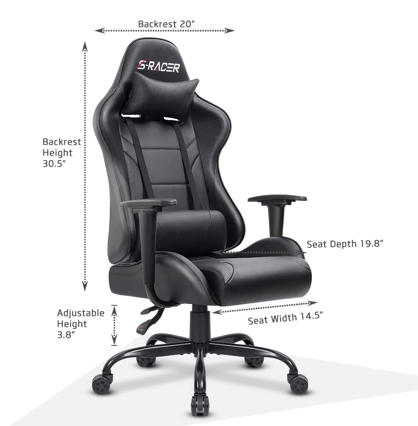Garage Seat Lens Homall Office Gaming Chair Carbon Pu Leather Reclining Black Racing Style Executive Ergonomic Hydraulic Swivel Seat With Headrest And Lumbar Support