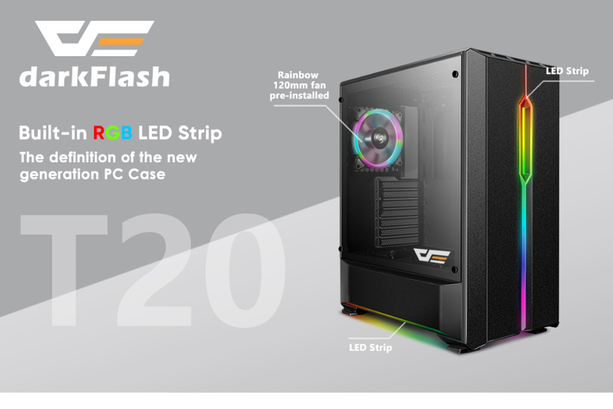 Case Pc Darkflash T20 Black Atx Mid Tower Desktop Computer Gaming Case Usb 3 Ports Tempered Glass Windows With 1pcs 120mm Led Rainbow Fan Pre Installed