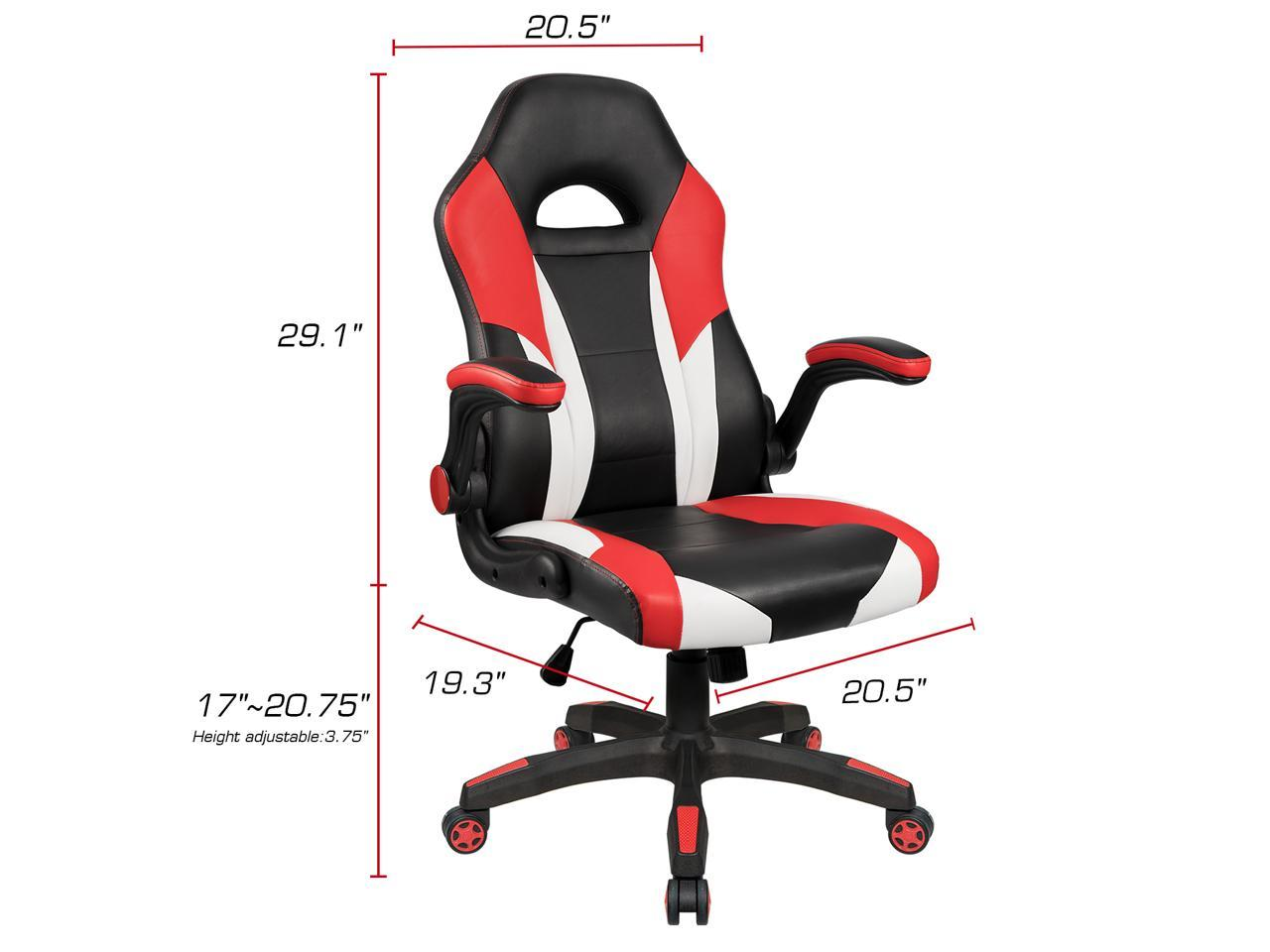 Racing Seat Office Chair Homall Gaming Desk Chair Racing Style With Wide Seat Flip Up Padded Armrests Pu Leather Ergonomic High Back And Swivel Red Black Newegg