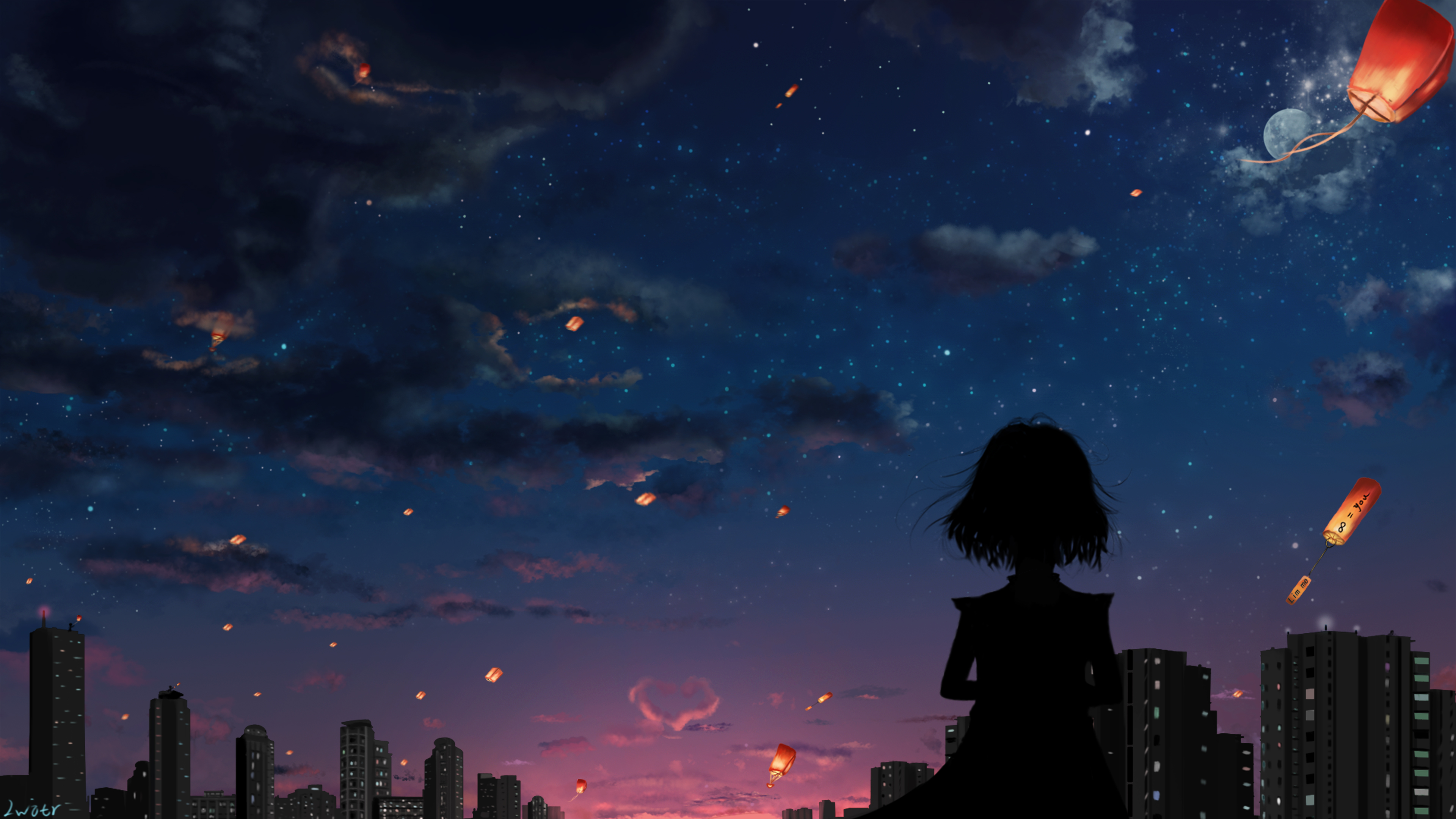 Anime Girl Overlooking A Cityscape With Flying Lanterns In The Sky 4k Ultra Hd Wallpaper Background Image 3840x2160 Id 1066705 Wallpaper Abyss