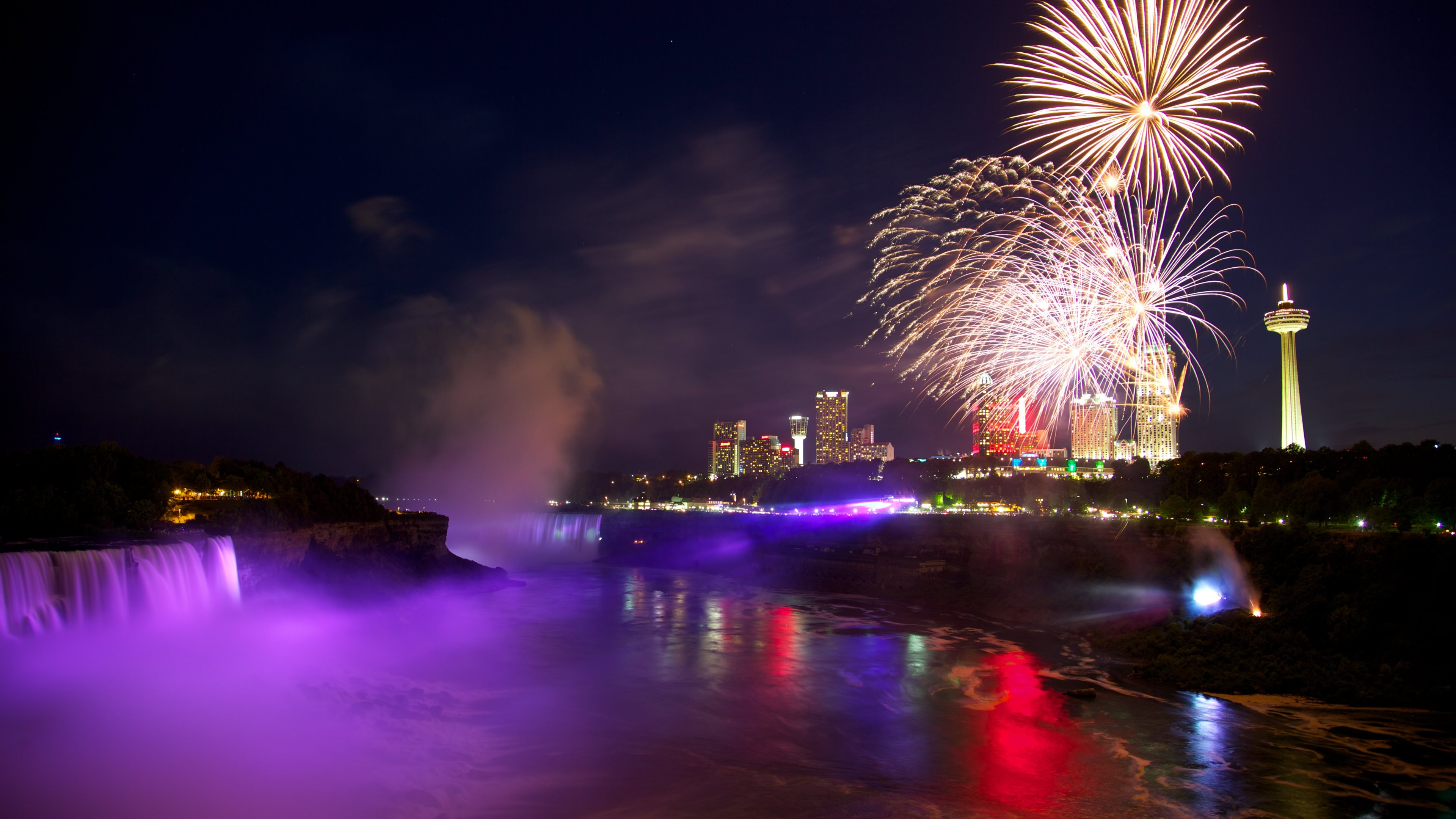 Niagara Falls Hd 1080p Wallpapers Photography Fireworks Night Wallpaper