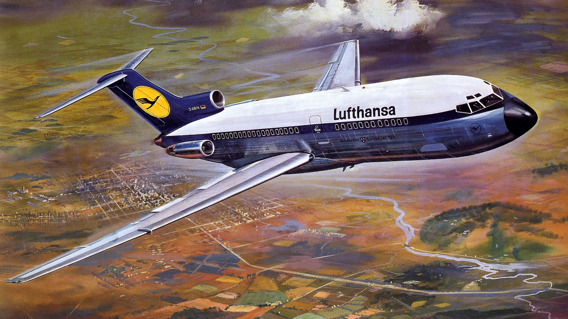 Airbus Iphone Wallpaper Boeing 727 100 Lufthansa D Abih Full Hd Wallpaper And