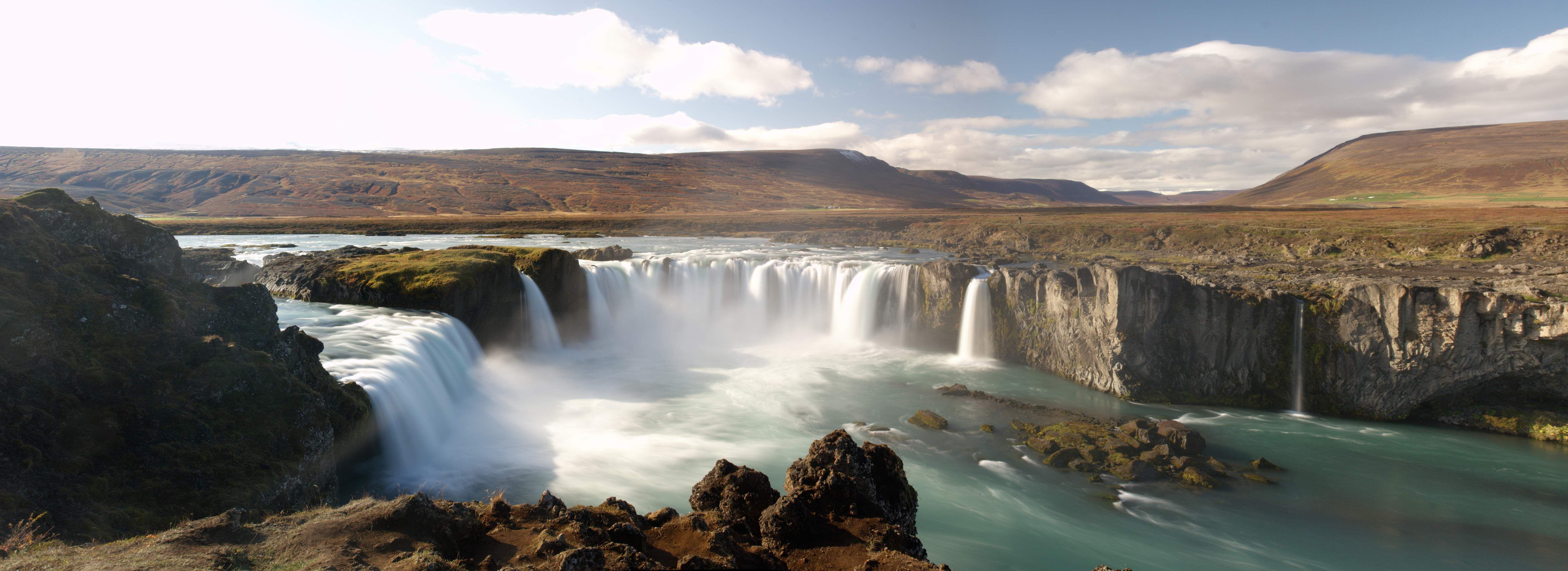 Panoramic Wallpaper Fall Iceland Waterfall Godafoss Panorama 4k Ultra Hd Fond D