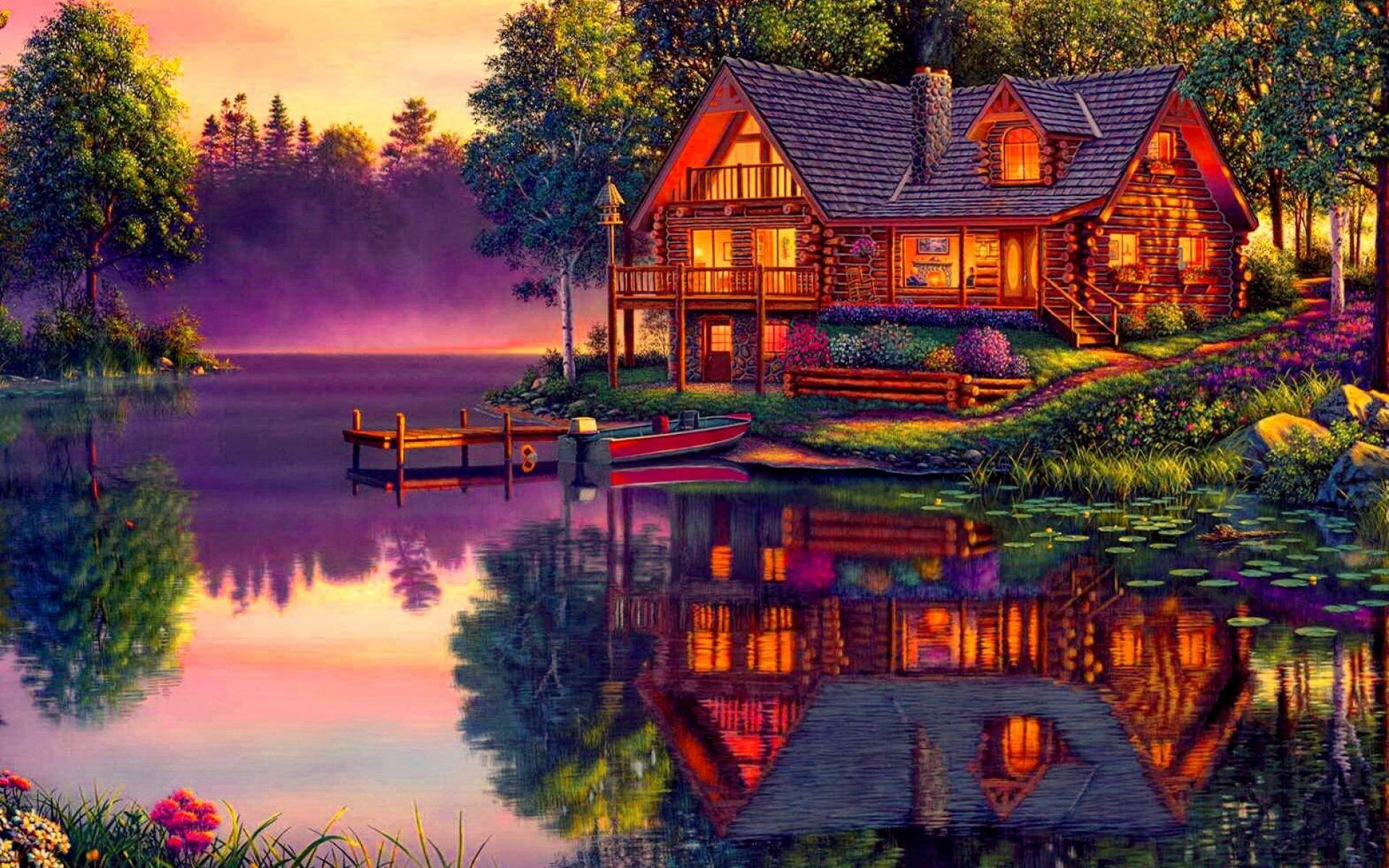 Fall Cabin The Woods Wallpaper Log Cabin On The Lake Hd Wallpaper Background Image
