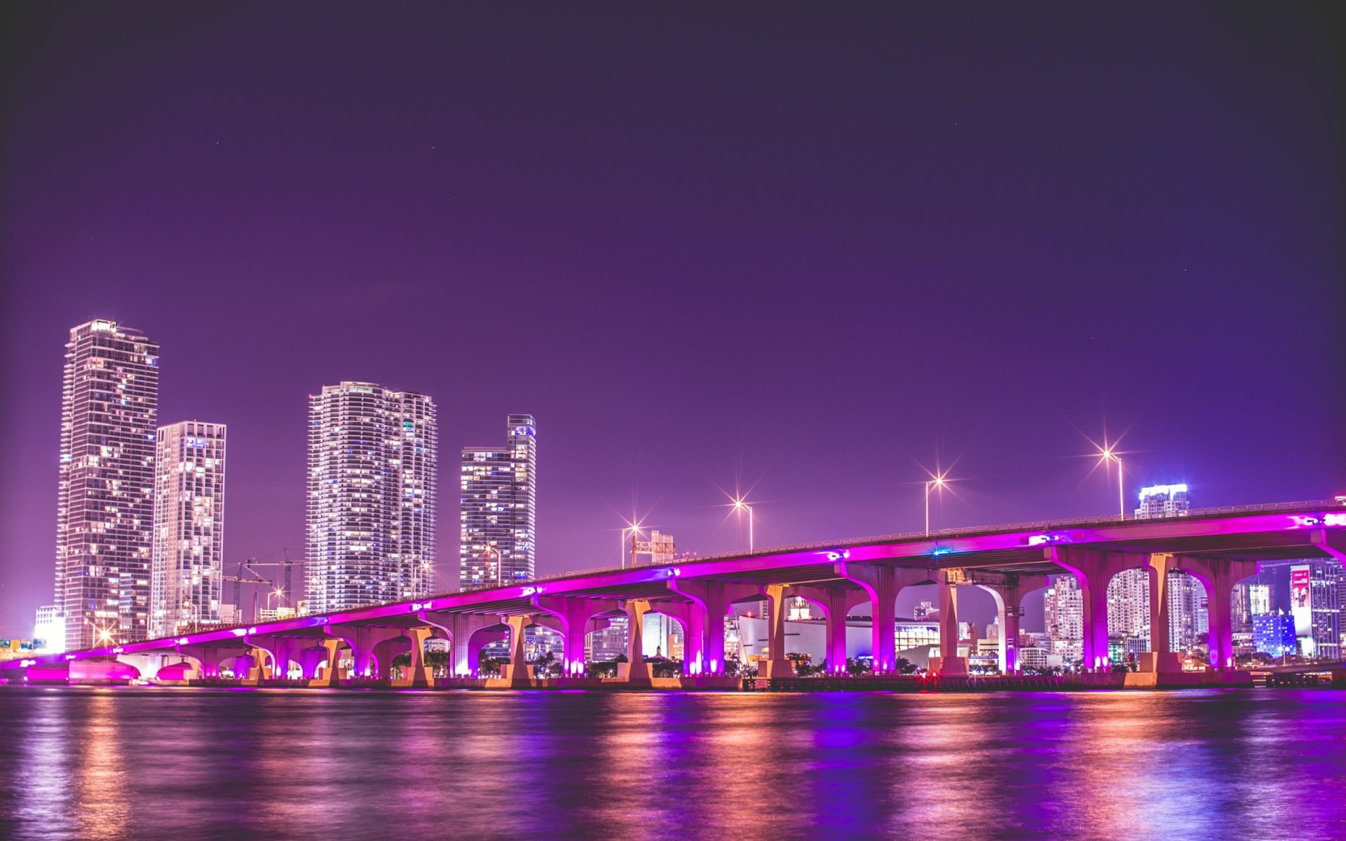 Miami Iphone X Wallpaper Bridge In Miami At Night Hd Wallpaper Background Image