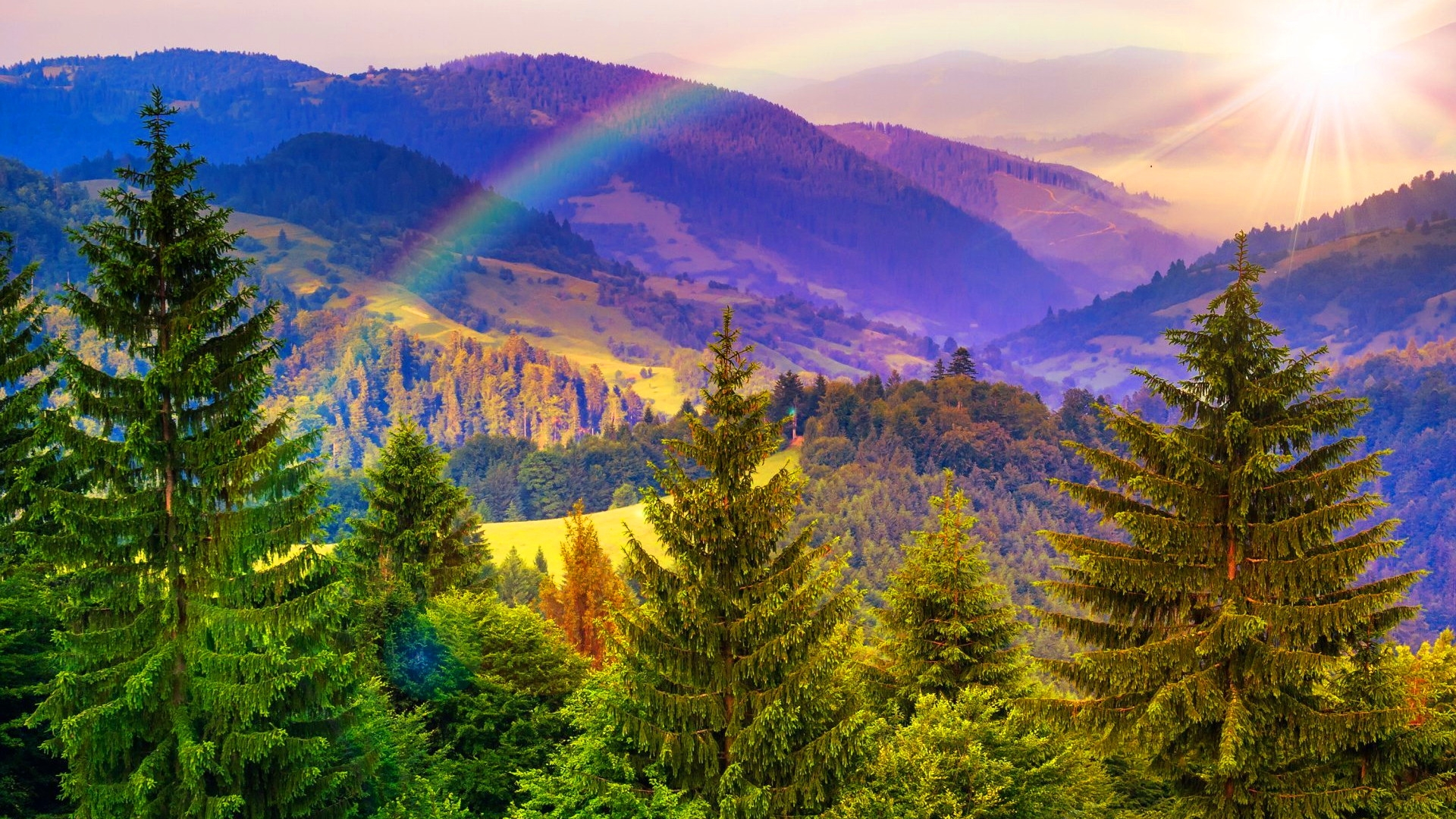 Fall Iphone 7 Plus Wallpaper Rainbow Over Mountains Hd Wallpaper Background Image