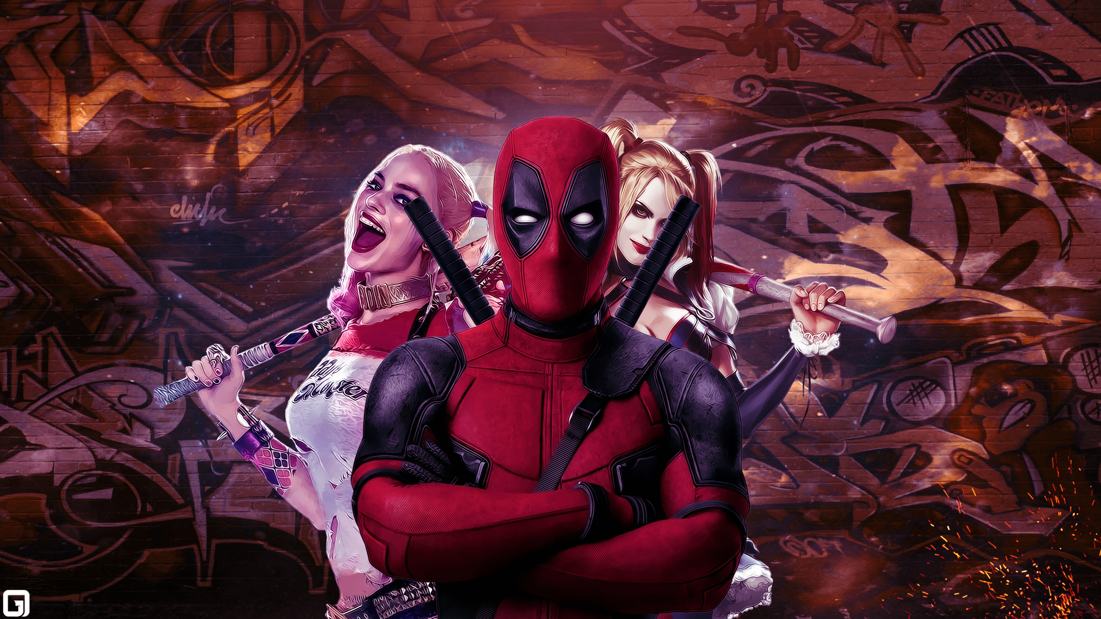 Simple Pubg Wallpaper 2 Deadpool Harley Quinn Hd Wallpapers Background Images