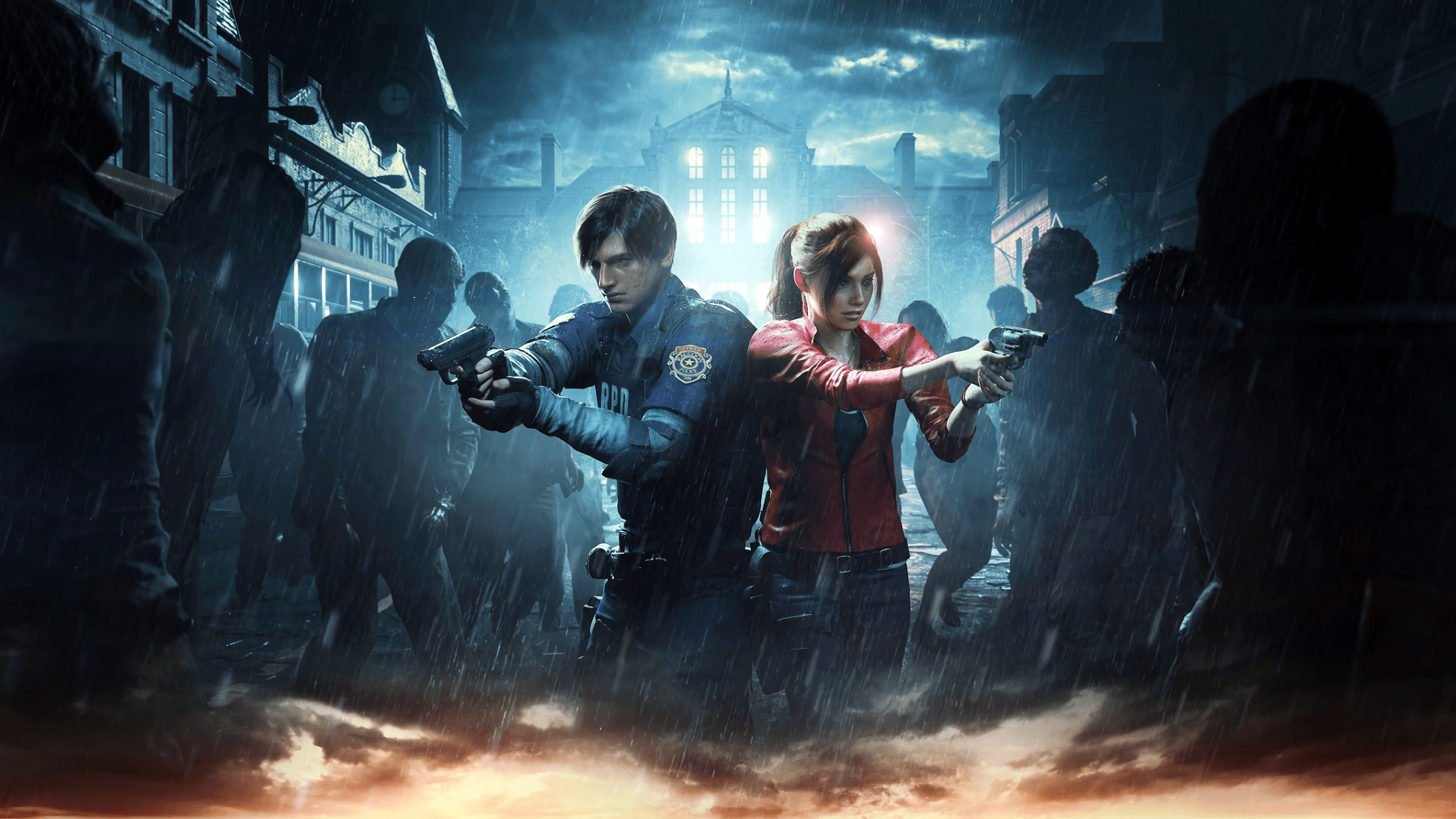 Leon S Kennedy Hd Wallpaper Resident Evil 2 2019 Leon Amp Claire Surrounded 4k Ultra