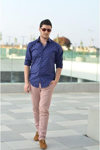 Men\u0027s Blue Zara Shirts, Bronze Aldo Shoes, Light Pink Zara Pants
