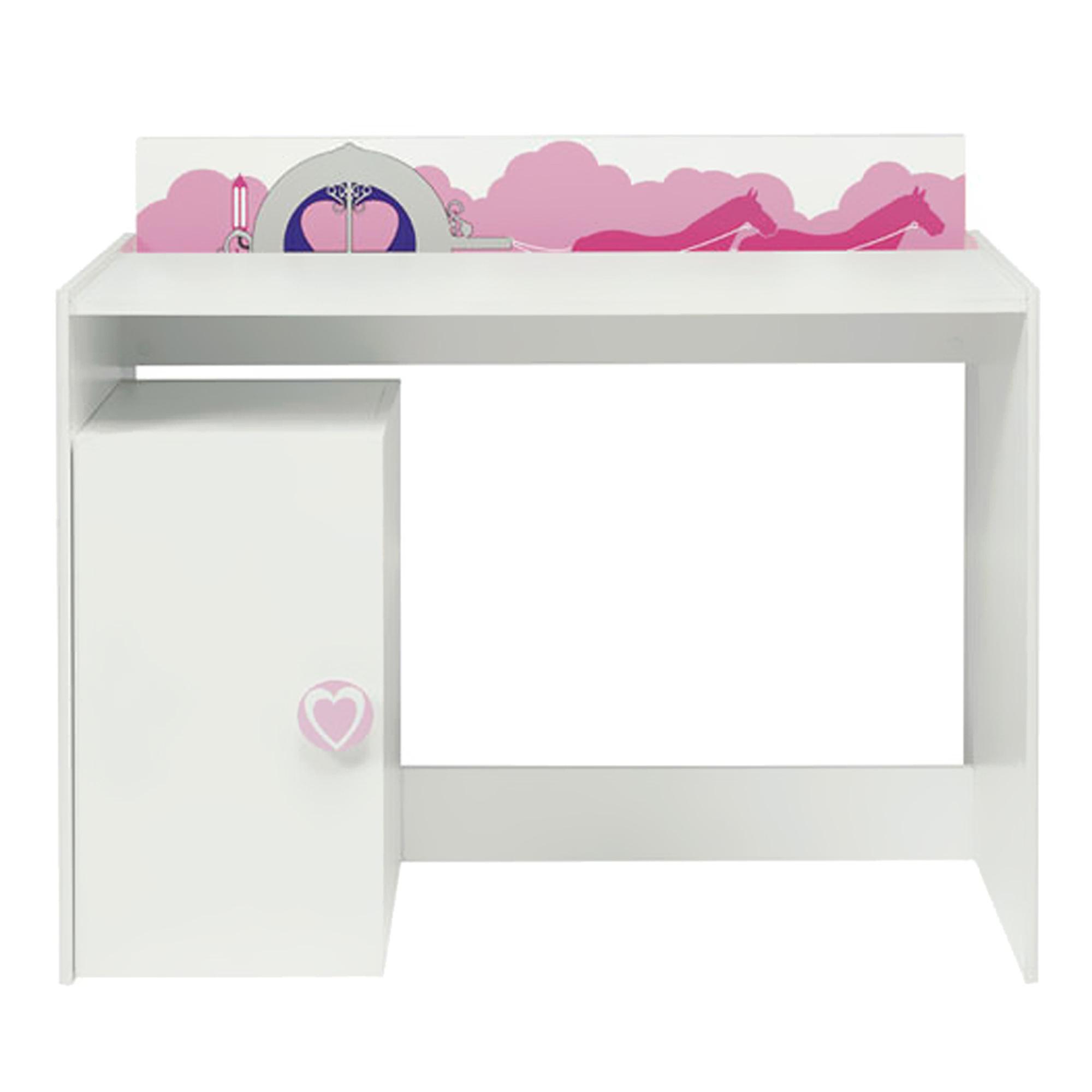 Bureau Blanc Fille | Chambre Enfant Bureau Fille Blanc Et Rose Comforium