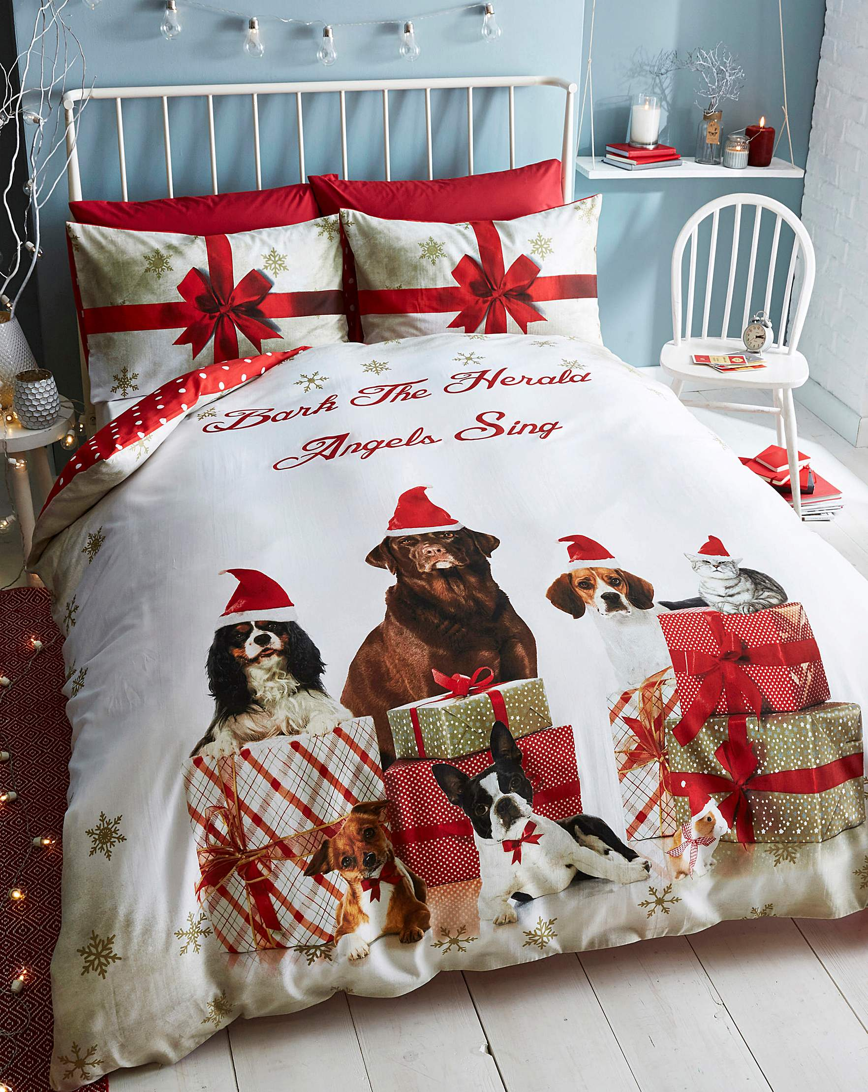 Catherine Lansfield Christmas Bedding Christmas Party Animals Duvet Cover Set Oxendales