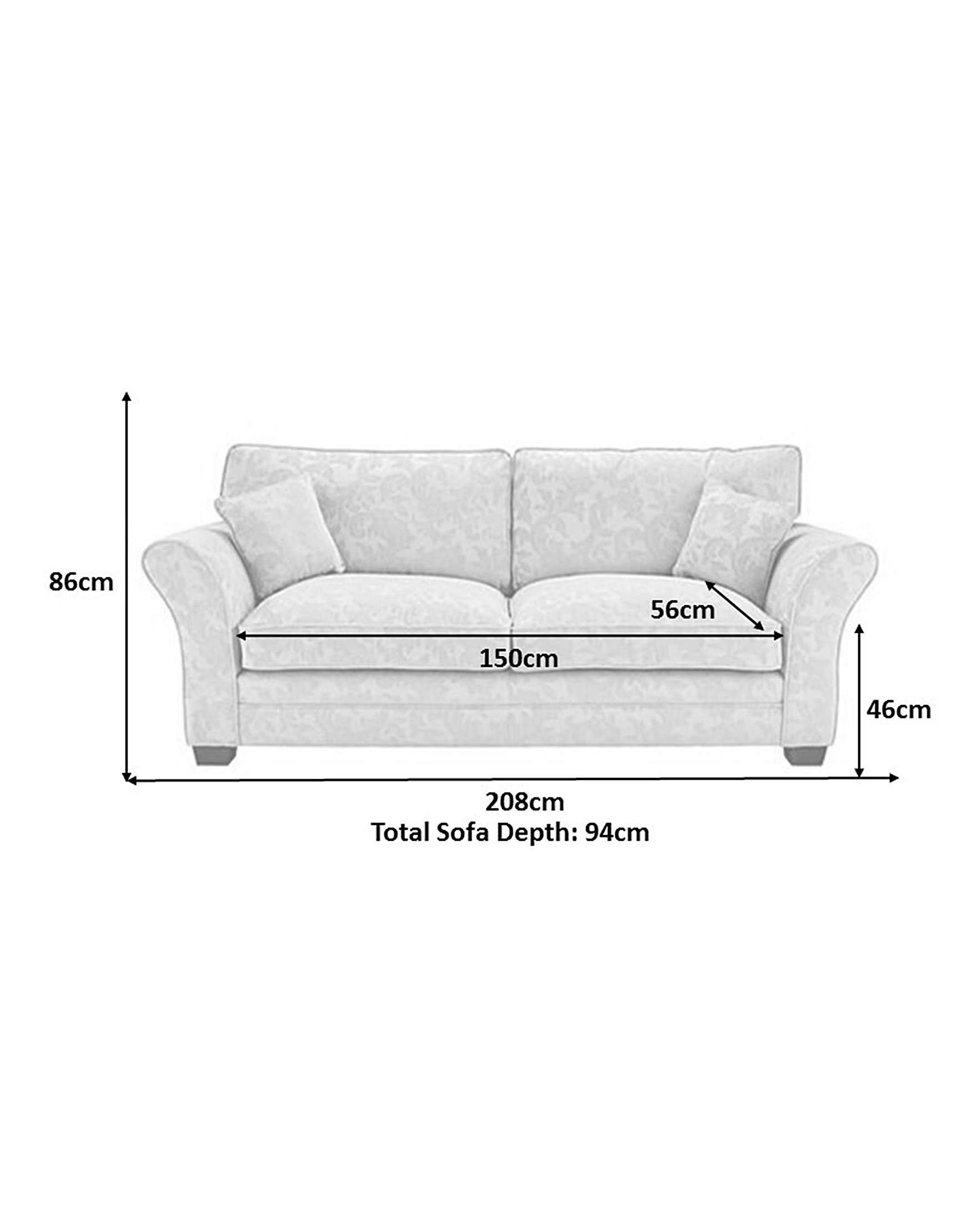 Sofa 150 Cm Mayfair Pillow Back Three Seater And Two Seater Sofa