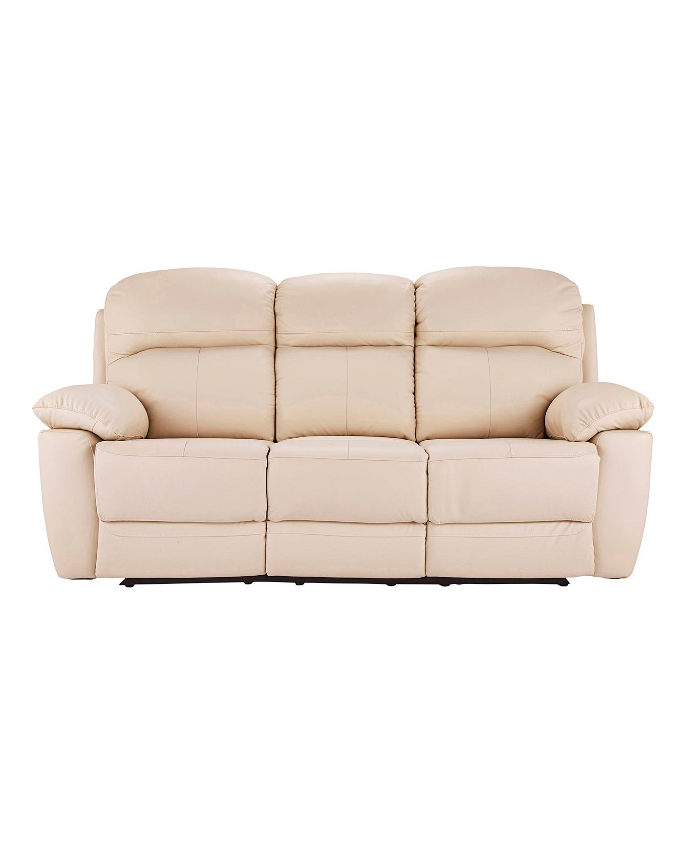 Roma Leather Recliner Three Seater Sofa J D Williams