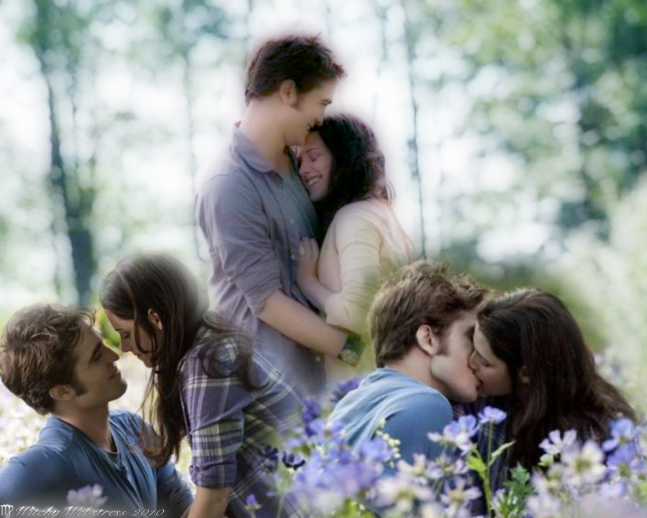Girl Kissing A Other Girl Wallpaper Edward Holds Bella In The Meadow Collage Twilight Series
