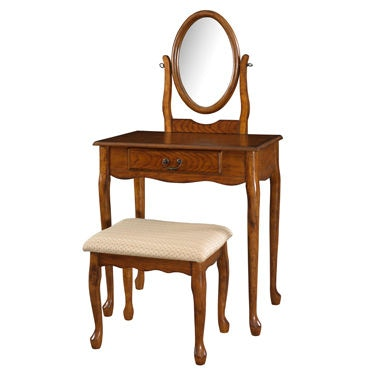Oak Vanity Chair Powell Furniture Bedroom Woodland Oak Vanity Mirror And