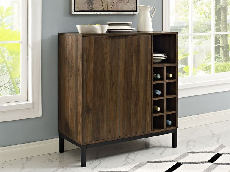 Moderner Buffetschrank Modern Bar Cabinet Buffet With Wine Storage - Dark Walnut