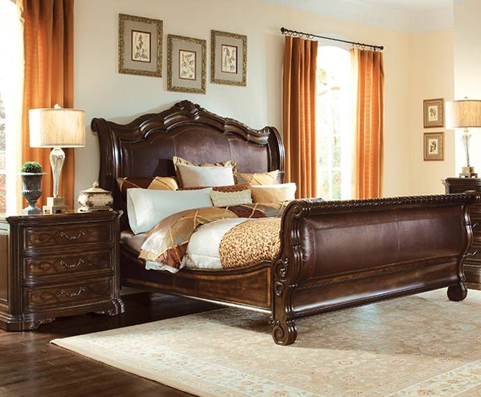 Leather Sleigh Bed From Valencia Star Furniture Of Texas