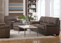 Living Room Denver Leather Sofa - DARK TAUPE