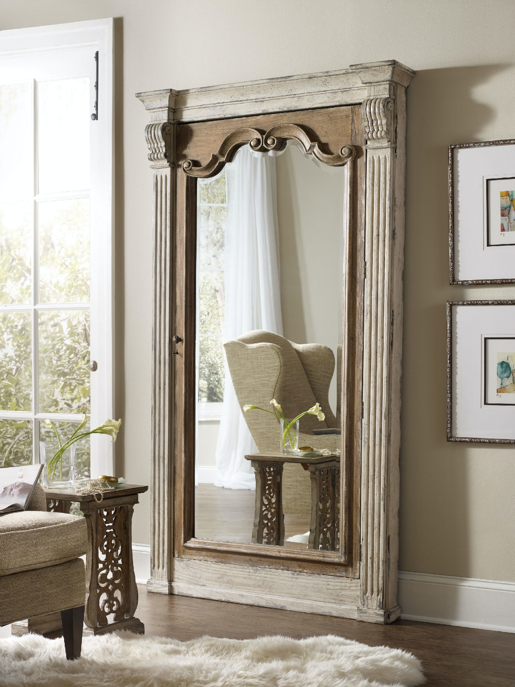 Hooker Furniture Accents Chatelet Floor Mirror W Jewelry Armoire Storage 5351 50003