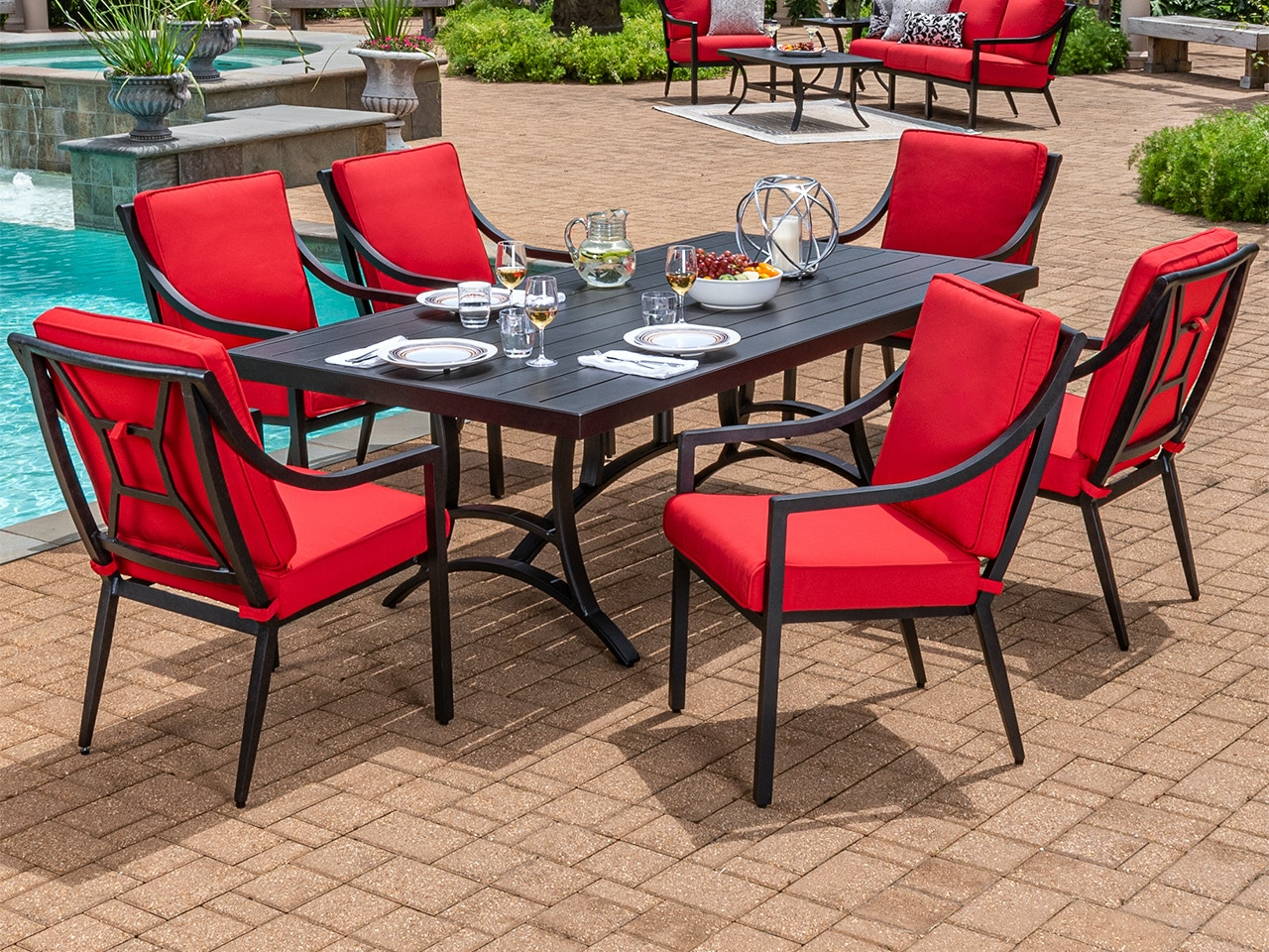 Living Room Hill Country Aged Bronze Aluminum And Jockey Red Cushion 7 Pc Dining With 84 X 42 In