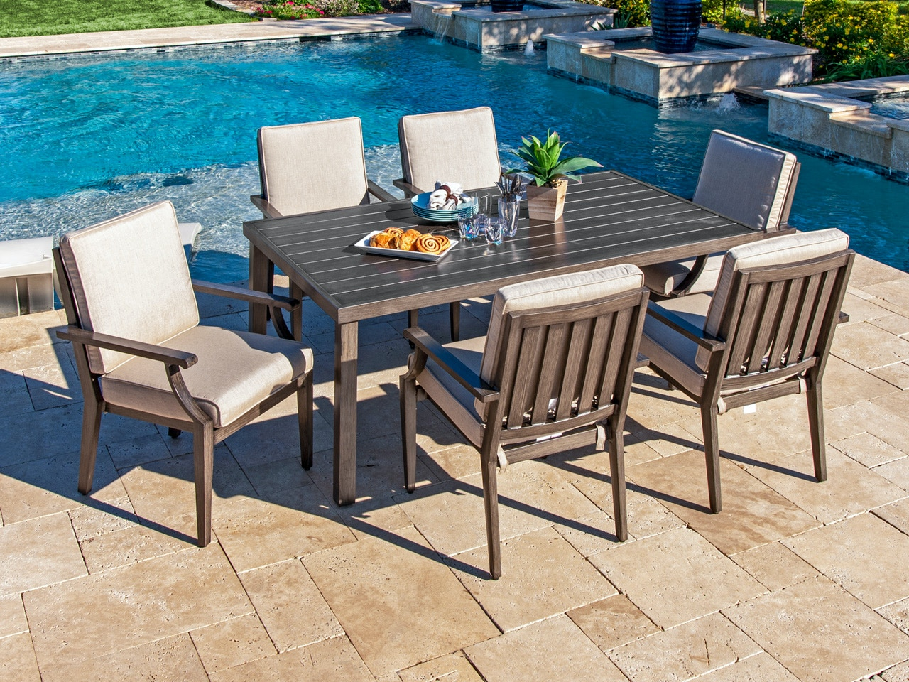 Living Room Monaco Weathered Teak Aluminum And Cast Ash Cushion 7 Pc Dining Set With 72 X 42 In