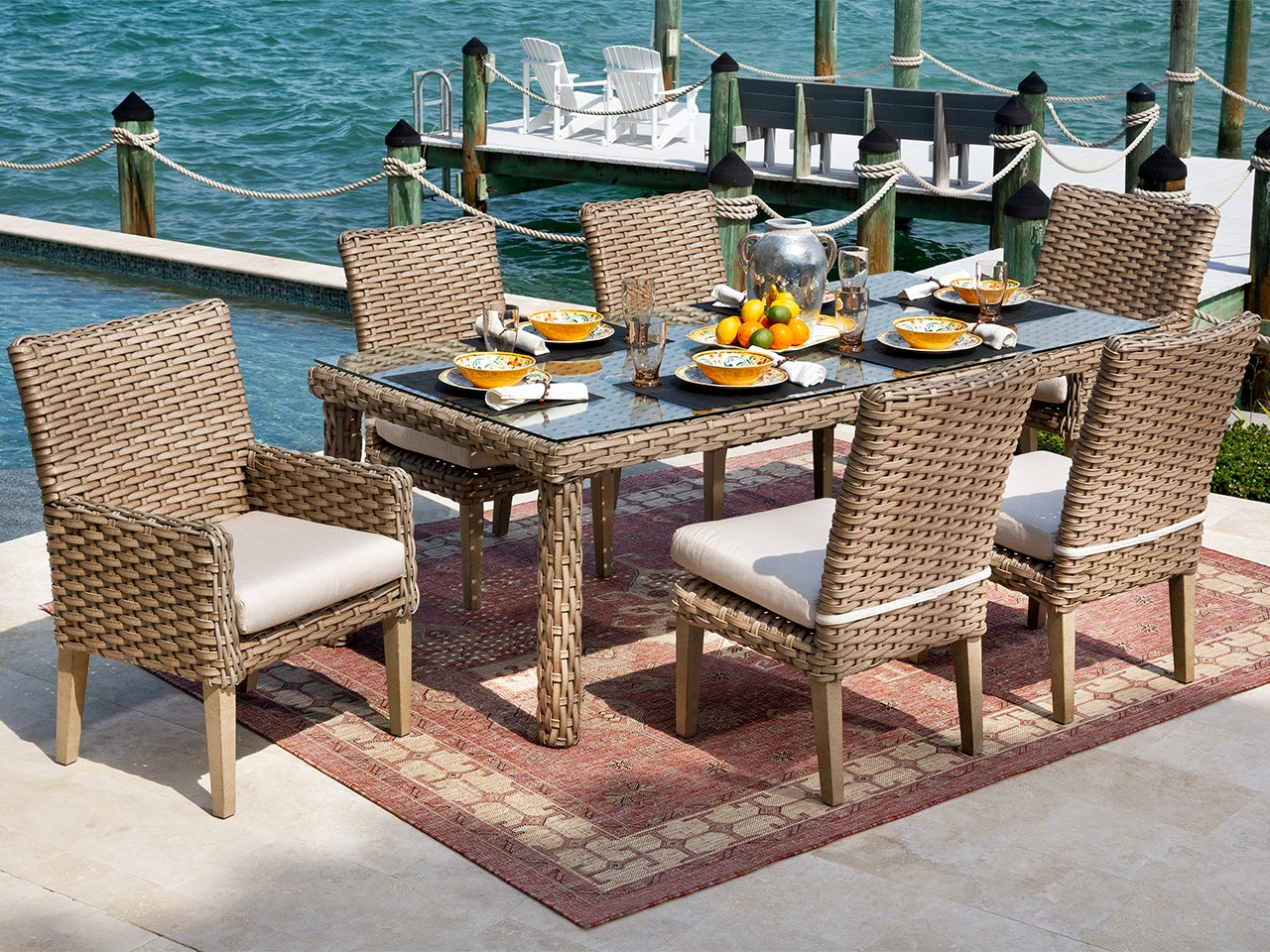 Living Room Siesta Aged Teak Outdoor Wicker And Canvas Flax Cushion 7 Pc Dining Set With 84 X 40