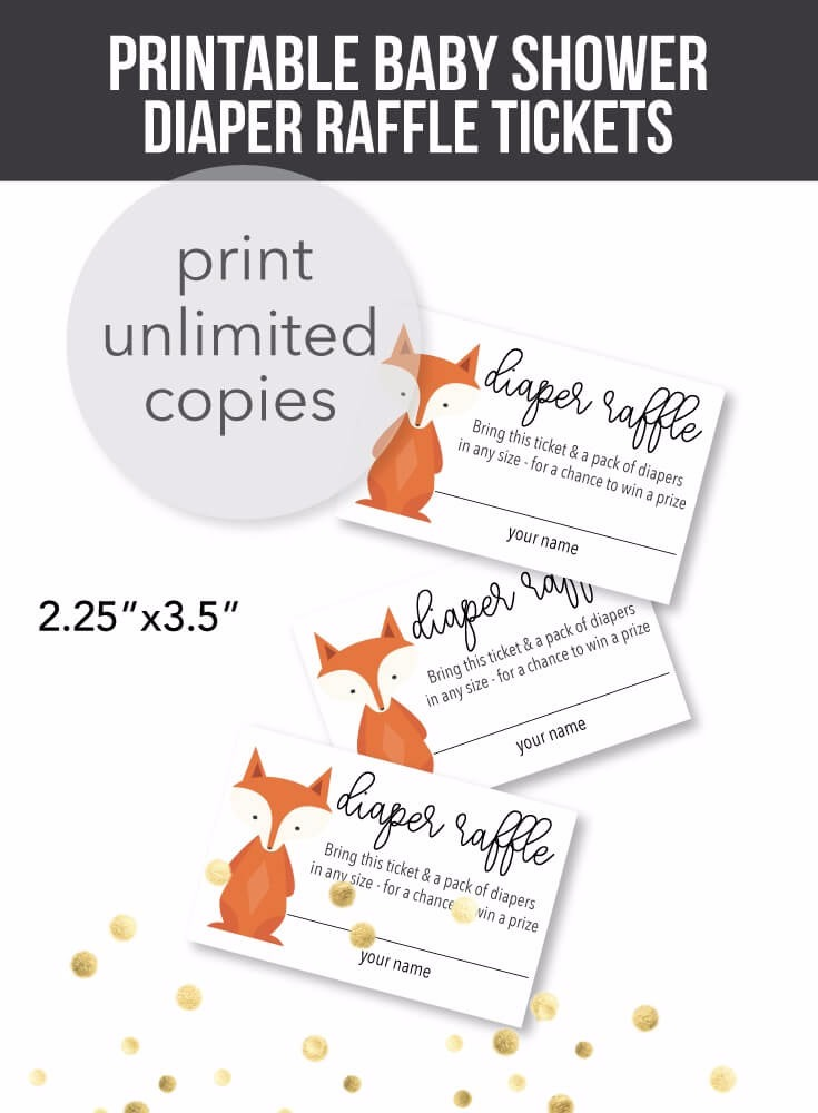 Printable Woodland Fox Diaper Raffle Tickets - Print It Baby