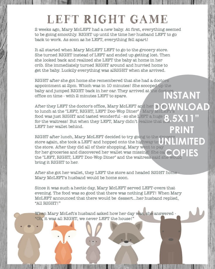 Printable Left Right Baby Shower Game - Woodland Animal Theme With