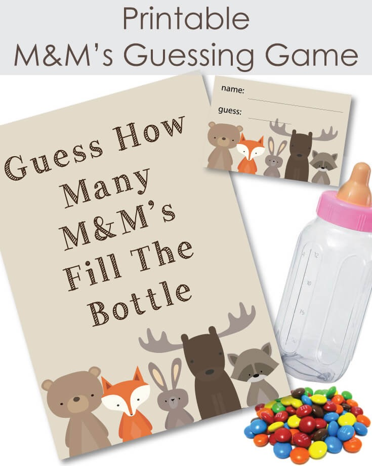 Printable Woodland Animals Candy M  M\u0027s Baby Shower Guessing Game