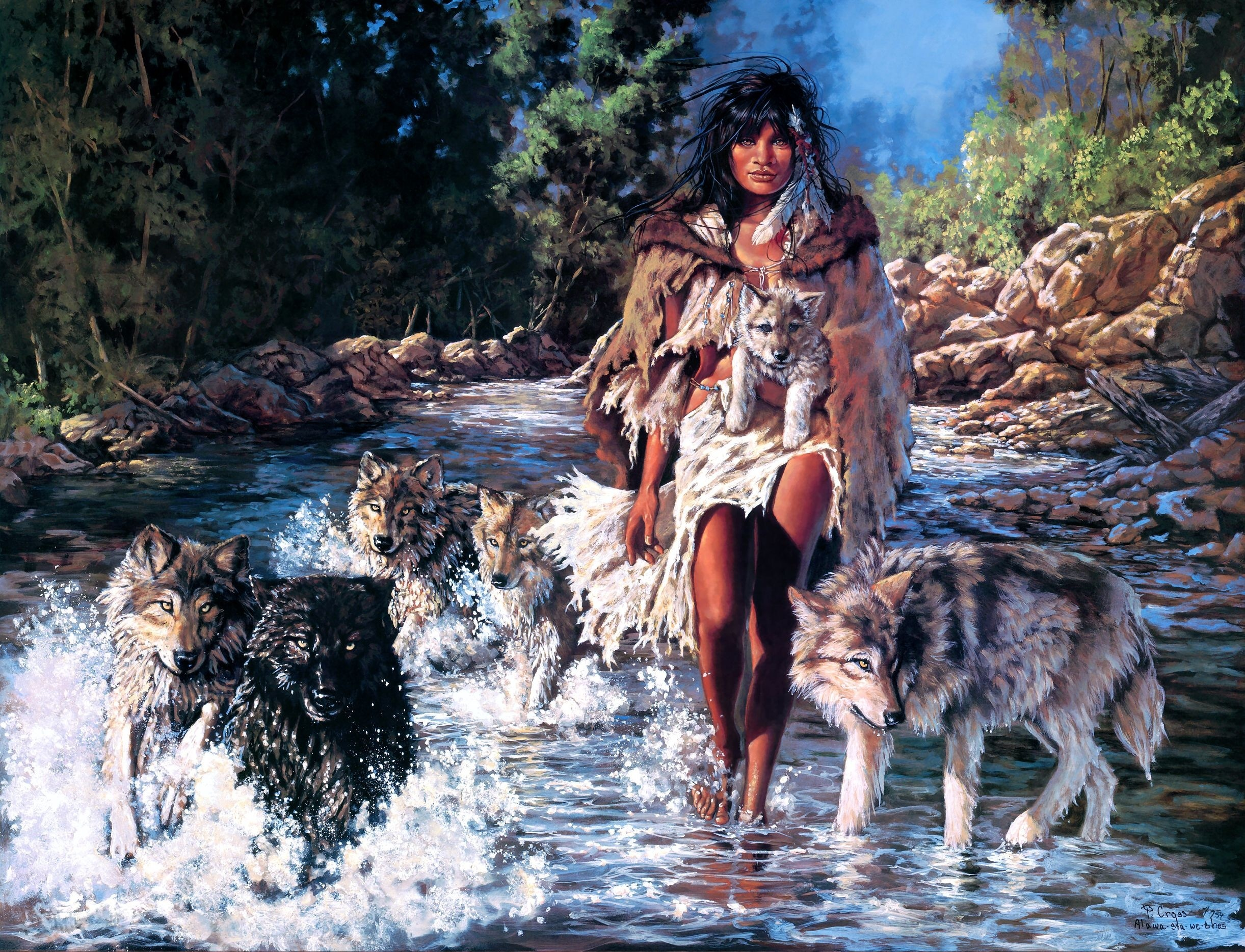 Native American Wallpaper Iphone Wolf People Crossing Hd Wallpaper Background Image