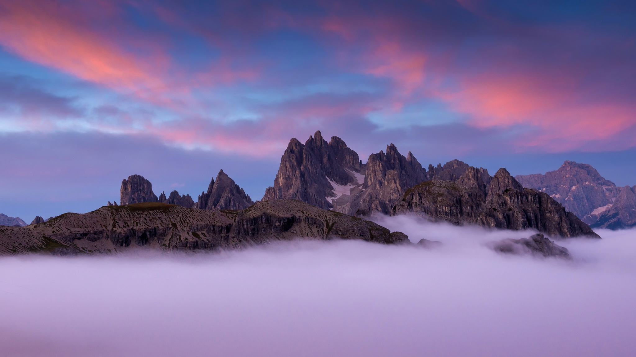 Pink Full Hd Wallpaper Fog And Sunset Over Dolomite Mountains In Italy Full Hd