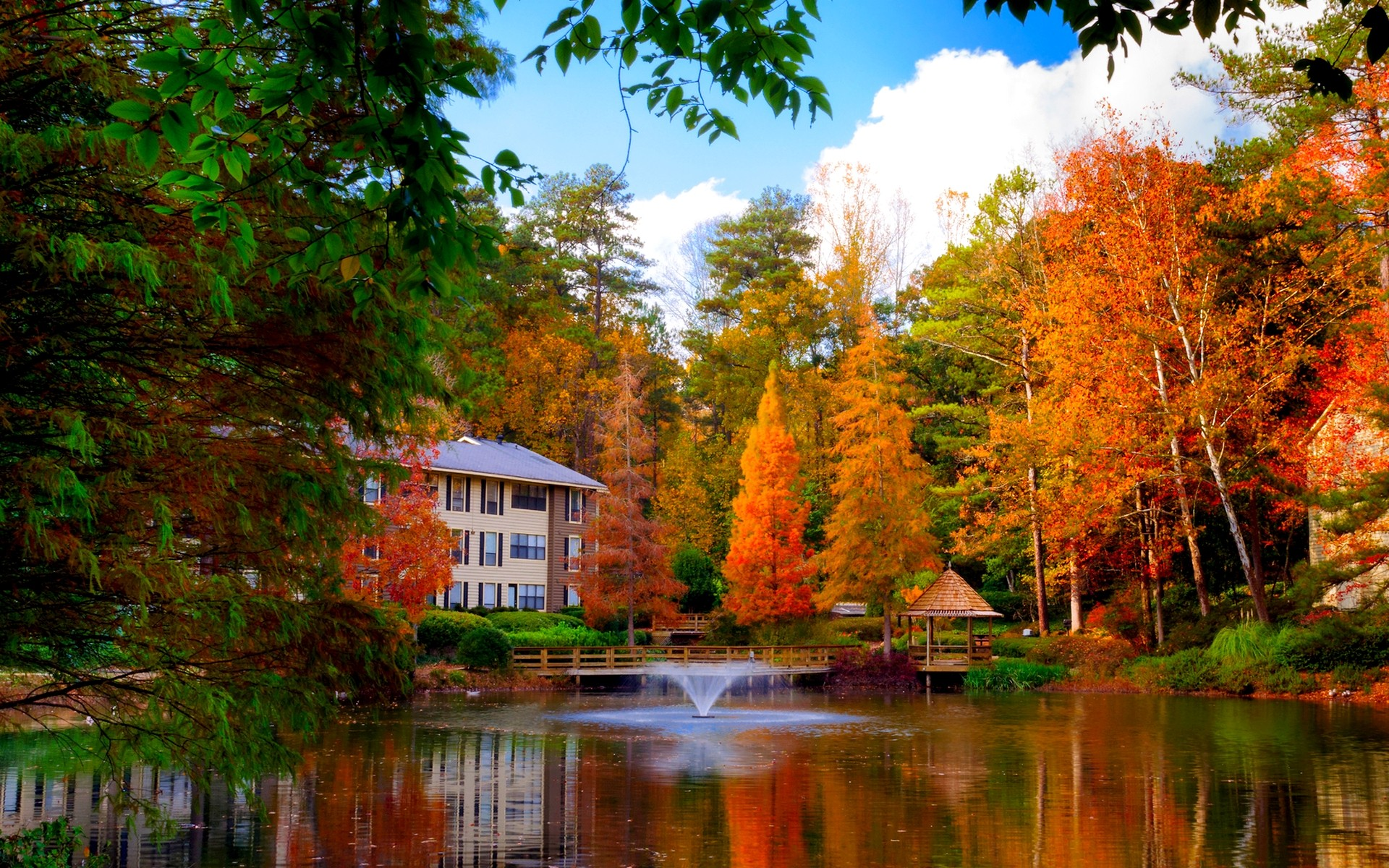 Atlanta Iphone X Wallpaper House On The Lake In Autumn Full Hd Wallpaper And