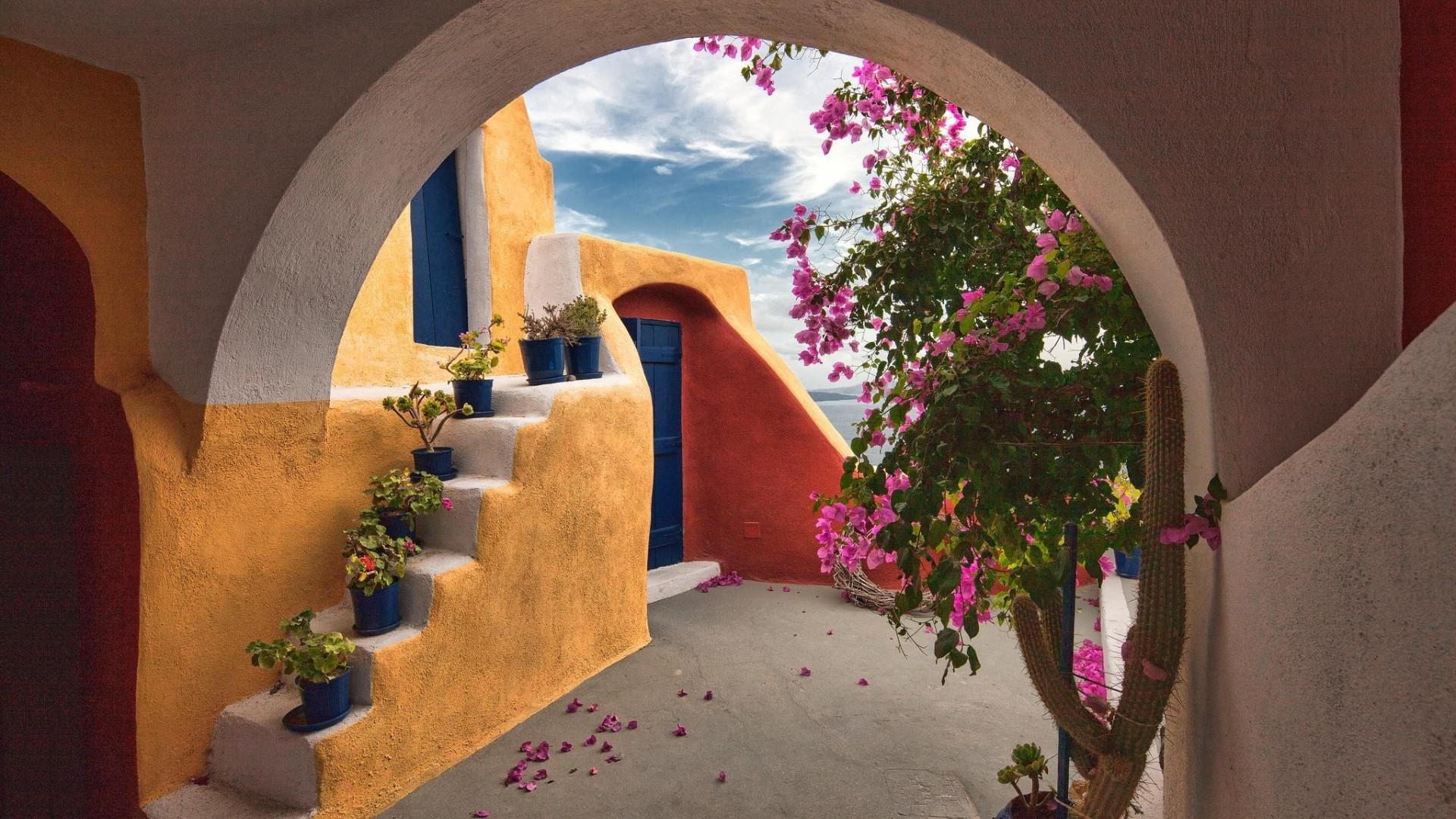3d Wallpaper For Galaxy Y Archway To House In Santorini Hd Wallpaper Background